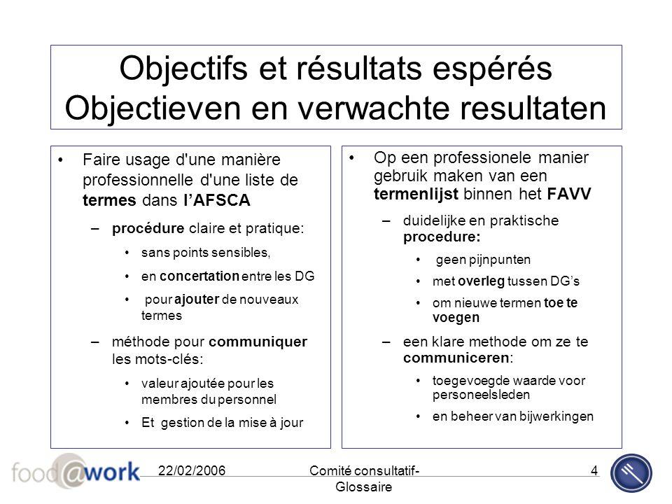22/02/2006Comité consultatif- Glossaire 4 Objectifs et résultats espérés Objectieven en verwachte resultaten Faire usage d'une manière professionnelle