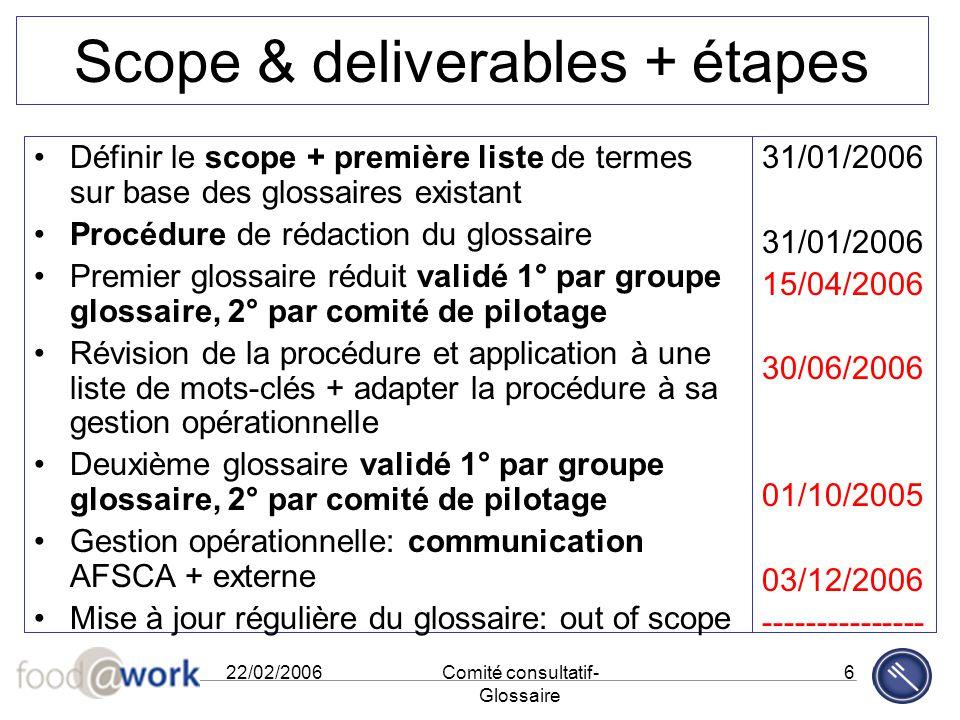 22/02/2006Comité consultatif- Glossaire 6 Scope & deliverables + étapes Définir le scope + première liste de termes sur base des glossaires existant P