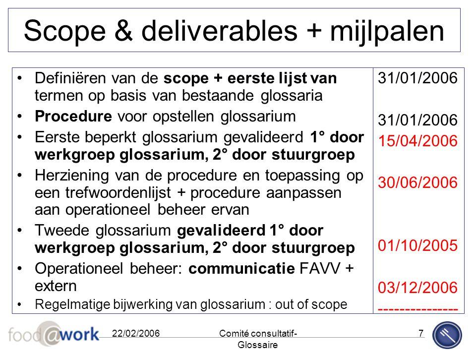 22/02/2006Comité consultatif- Glossaire 7 Scope & deliverables + mijlpalen Definiëren van de scope + eerste lijst van termen op basis van bestaande gl
