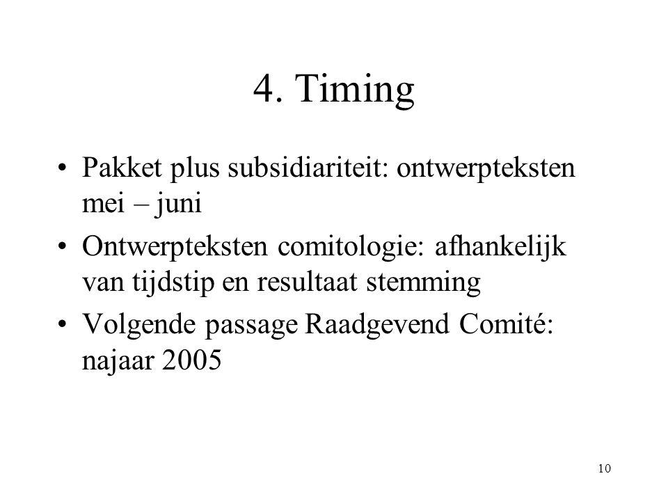 10 4. Timing Pakket plus subsidiariteit: ontwerpteksten mei – juni Ontwerpteksten comitologie: afhankelijk van tijdstip en resultaat stemming Volgende