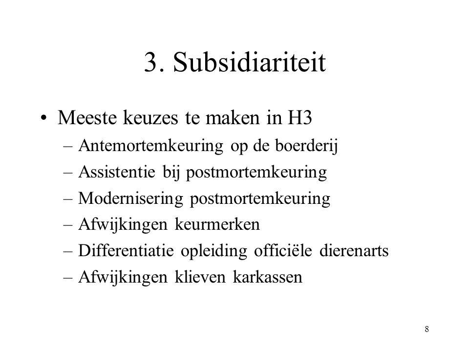 8 3. Subsidiariteit Meeste keuzes te maken in H3 –Antemortemkeuring op de boerderij –Assistentie bij postmortemkeuring –Modernisering postmortemkeurin