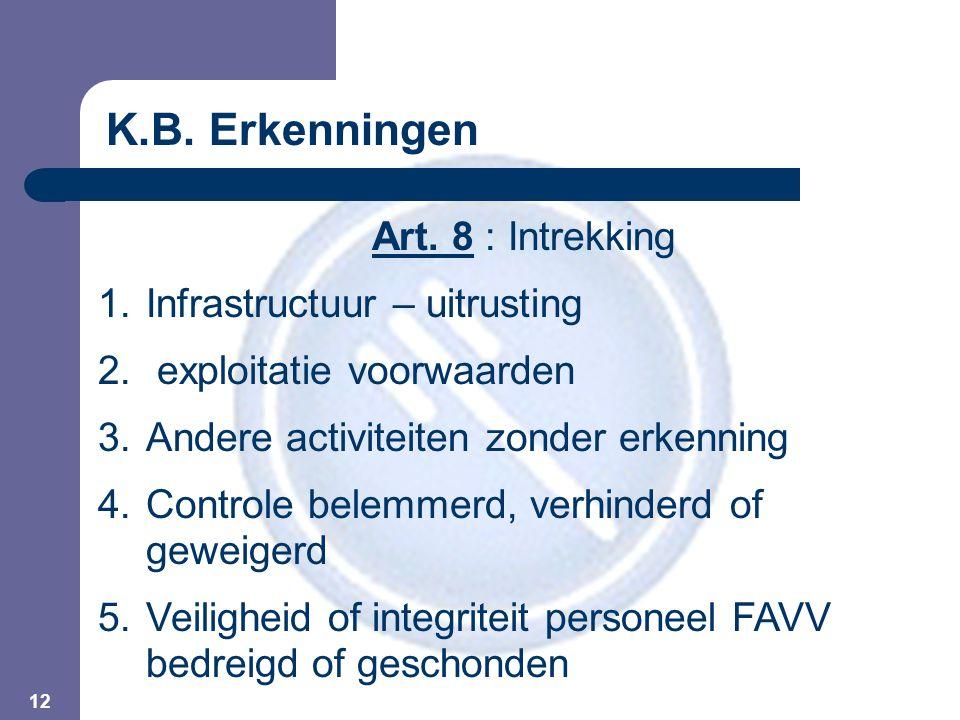 12 Art. 8 : Intrekking 1.Infrastructuur – uitrusting 2. exploitatie voorwaarden 3.Andere activiteiten zonder erkenning 4.Controle belemmerd, verhinder