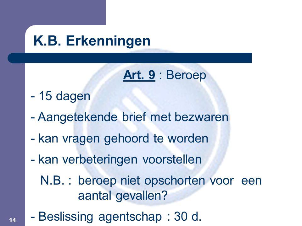 14 Art. 9 : Beroep - 15 dagen - Aangetekende brief met bezwaren - kan vragen gehoord te worden - kan verbeteringen voorstellen N.B. : beroep niet opsc