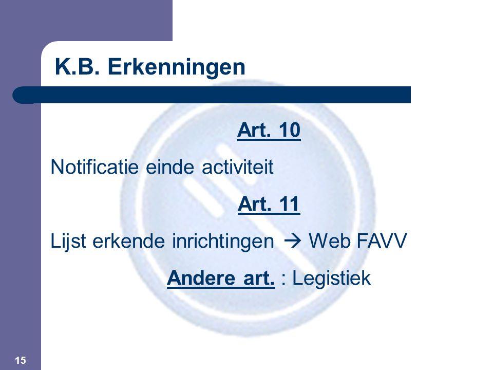 15 Art. 10 Notificatie einde activiteit Art. 11 Lijst erkende inrichtingen  Web FAVV Andere art. : Legistiek K.B. Erkenningen
