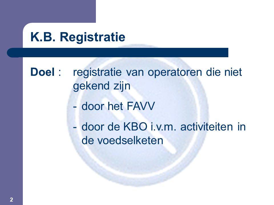 2 K.B. Registratie Doel : registratie van operatoren die niet gekend zijn - door het FAVV - door de KBO i.v.m. activiteiten in de voedselketen