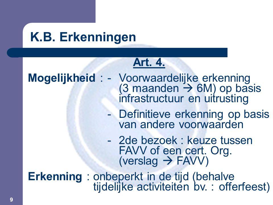 9 Art. 4. Mogelijkheid :- Voorwaardelijke erkenning (3 maanden  6M) op basis infrastructuur en uitrusting -Definitieve erkenning op basis van andere