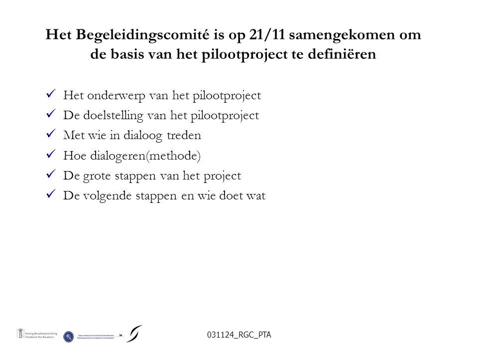 031124_RGC_PTA De groep heeft het thema en de doelstellingen van het pilootproject gekozen  Waar de grens trekken tussen het streven naar een minimumrisico op het vlak van voedselveiligheid en het economisch leefbaar houden van de productiesector in functie van technologische imperatieven en van de concurrentiepositie op de vrije markt.