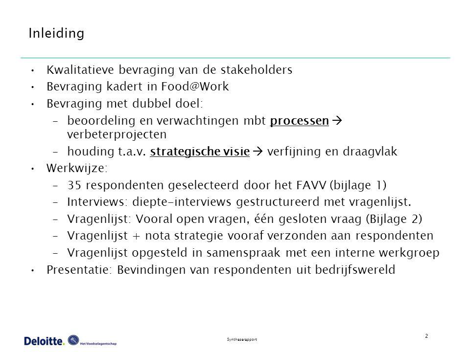 3 Syntheserapport Verloop Bevraging Alle aangesproken respondenten (35) hebben meegewerkt Interviews afgenomen tussen 27 januari en 18 februari 2004.