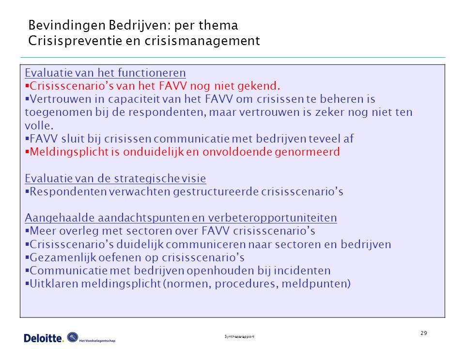 29 Syntheserapport Bevindingen Bedrijven: per thema Crisispreventie en crisismanagement Evaluatie van het functioneren  Crisisscenario's van het FAVV nog niet gekend.