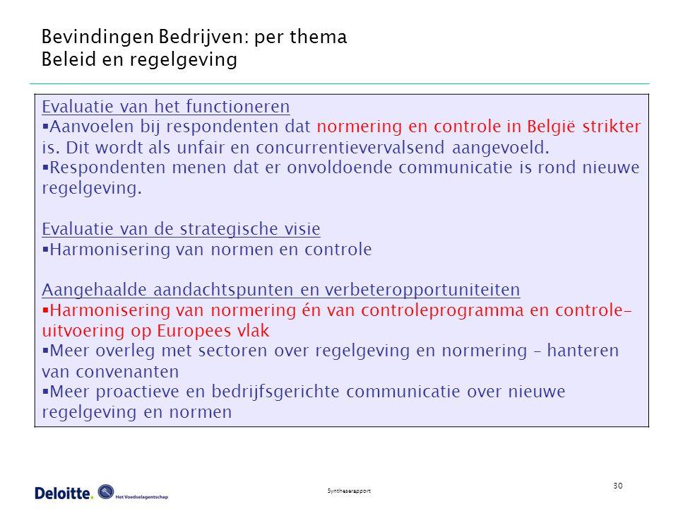 30 Syntheserapport Bevindingen Bedrijven: per thema Beleid en regelgeving Evaluatie van het functioneren  Aanvoelen bij respondenten dat normering en controle in België strikter is.