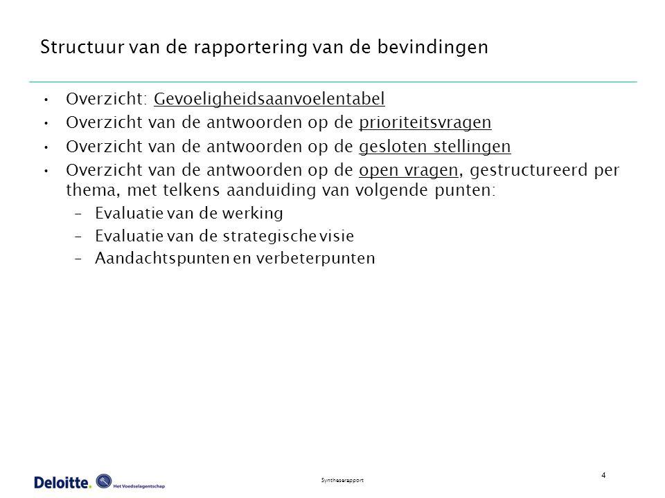 4 Syntheserapport Structuur van de rapportering van de bevindingen Overzicht: Gevoeligheidsaanvoelentabel Overzicht van de antwoorden op de prioriteitsvragen Overzicht van de antwoorden op de gesloten stellingen Overzicht van de antwoorden op de open vragen, gestructureerd per thema, met telkens aanduiding van volgende punten: –Evaluatie van de werking –Evaluatie van de strategische visie –Aandachtspunten en verbeterpunten