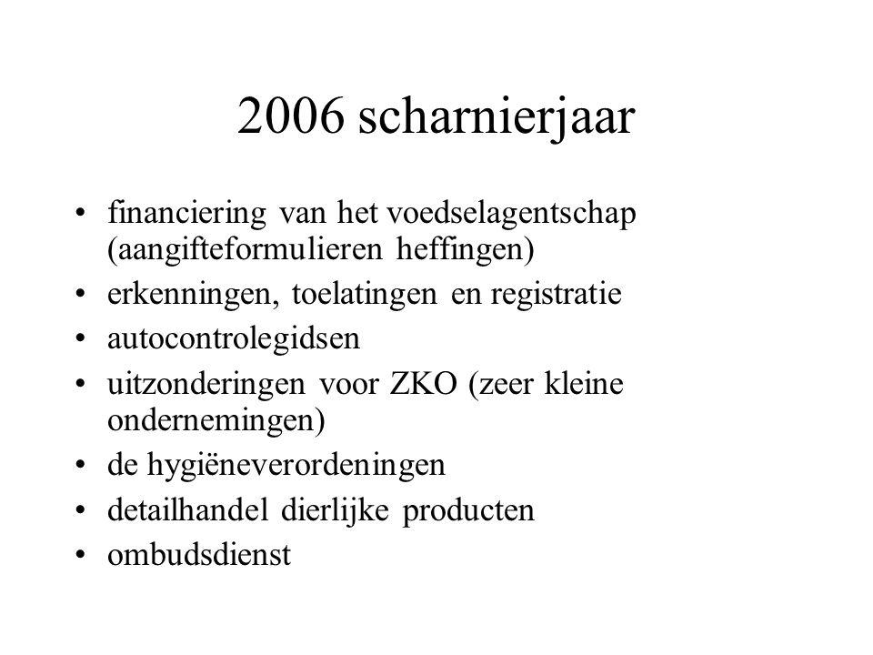 2006 scharnierjaar financiering van het voedselagentschap (aangifteformulieren heffingen) erkenningen, toelatingen en registratie autocontrolegidsen uitzonderingen voor ZKO (zeer kleine ondernemingen) de hygiëneverordeningen detailhandel dierlijke producten ombudsdienst