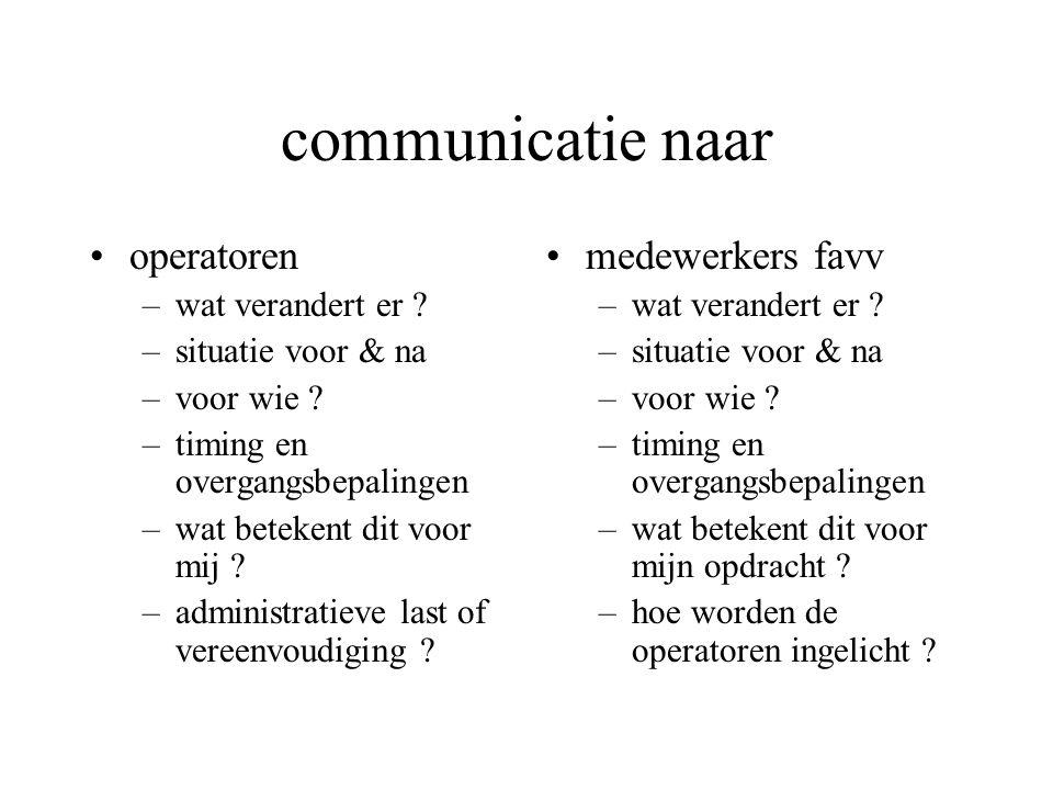 communicatie naar operatoren –wat verandert er . –situatie voor & na –voor wie .
