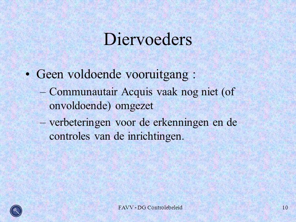 FAVV - DG Controlebeleid10 Diervoeders Geen voldoende vooruitgang : –Communautair Acquis vaak nog niet (of onvoldoende) omgezet –verbeteringen voor de erkenningen en de controles van de inrichtingen.