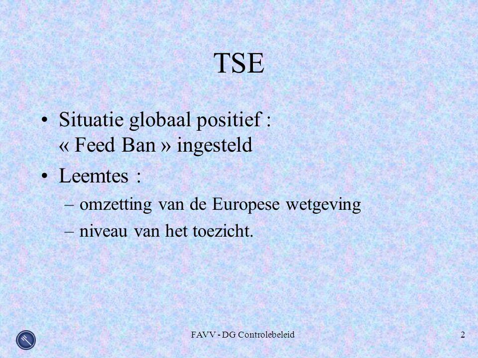 FAVV - DG Controlebeleid2 TSE Situatie globaal positief : « Feed Ban » ingesteld Leemtes : –omzetting van de Europese wetgeving –niveau van het toezicht.