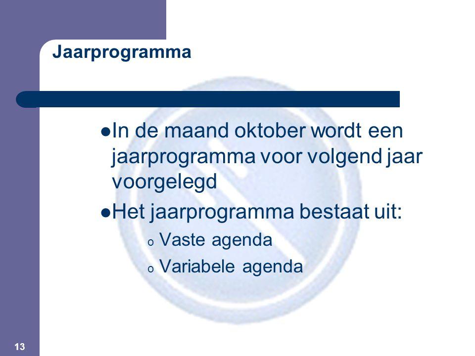 13 Jaarprogramma In de maand oktober wordt een jaarprogramma voor volgend jaar voorgelegd Het jaarprogramma bestaat uit: o Vaste agenda o Variabele agenda