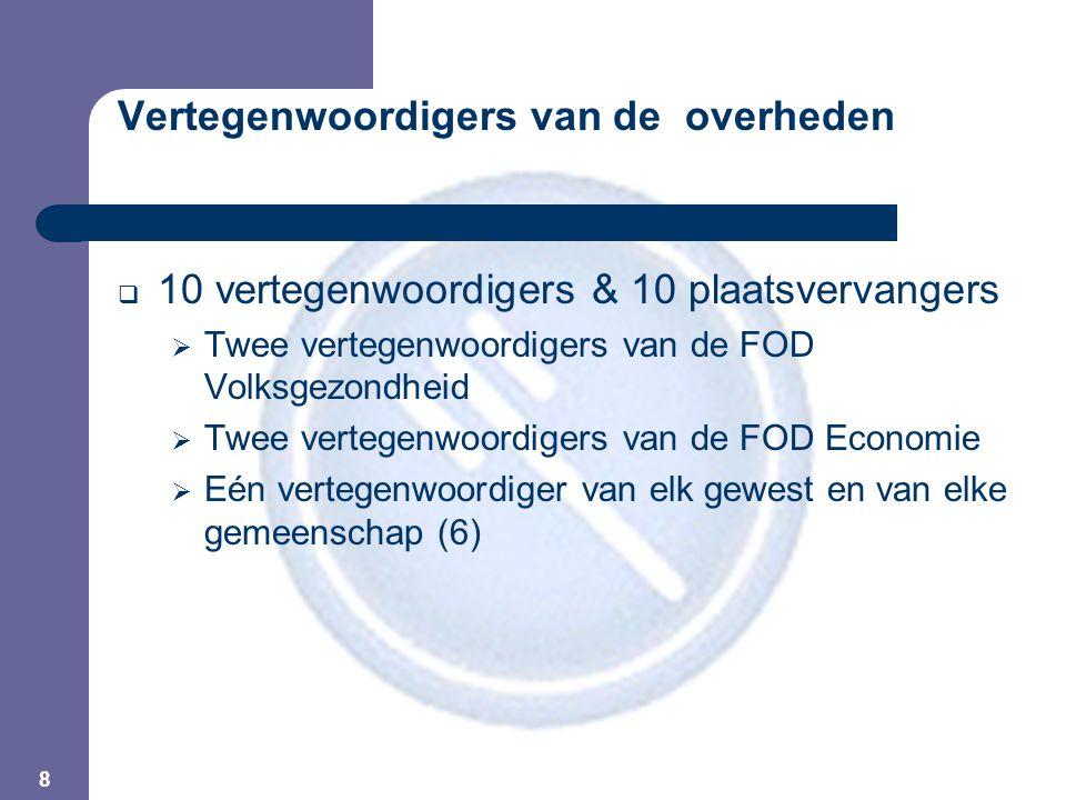 8 Vertegenwoordigers van de overheden  10 vertegenwoordigers & 10 plaatsvervangers  Twee vertegenwoordigers van de FOD Volksgezondheid  Twee vertegenwoordigers van de FOD Economie  Eén vertegenwoordiger van elk gewest en van elke gemeenschap (6)