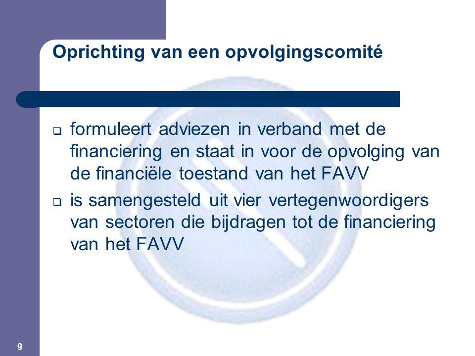 9 Oprichting van een opvolgingscomité  formuleert adviezen in verband met de financiering en staat in voor de opvolging van de financiële toestand van het FAVV  is samengesteld uit vier vertegenwoordigers van sectoren die bijdragen tot de financiering van het FAVV