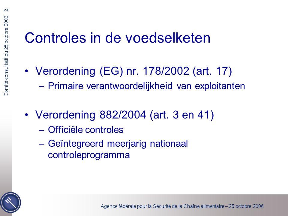 Agence fédérale pour la Sécurité de la Chaîne alimentaire – 25 octobre 2006 Comité consultatif du 25 octobre 2006 23 Inspecties Methodologie (gevoeligheidsniveau) Bepaling van het gevoeligheidsniveau in het activiteitsgebied : –Lage gevoeligheid (LS) –Gemiddelde gevoeligheid (MS) Voeders (toegelaten bedrijf) (0.5) Plantaardige primaire productie (0.25) Dierlijke primaire productie (0.25) Gemengde primaire productie(0.25) Verzamelcentra en halteplaatsen (levende dieren) (0.5) Vervoer en handelaars (levende dieren) (0.5) Transformatie (melkproducten) (0.5) Transformatie (eiproducten) (0.5) Transformatie (andere producten) (0.5) Opslag van vlees(0.5) Opslag van vis(0.5) Grootkeukens(0.5) Horeca(0.5) –Hoge gevoeligheid (HS)