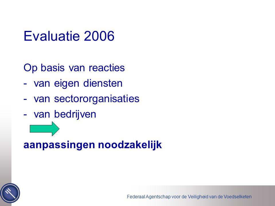 Federaal Agentschap voor de Veiligheid van de Voedselketen Evaluatie 2006 Op basis van reacties -van eigen diensten -van sectororganisaties -van bedrijven aanpassingen noodzakelijk