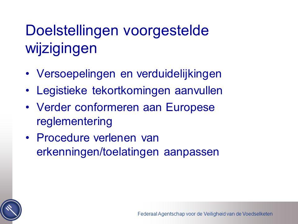 Federaal Agentschap voor de Veiligheid van de Voedselketen Doelstellingen voorgestelde wijzigingen Versoepelingen en verduidelijkingen Legistieke tekortkomingen aanvullen Verder conformeren aan Europese reglementering Procedure verlenen van erkenningen/toelatingen aanpassen