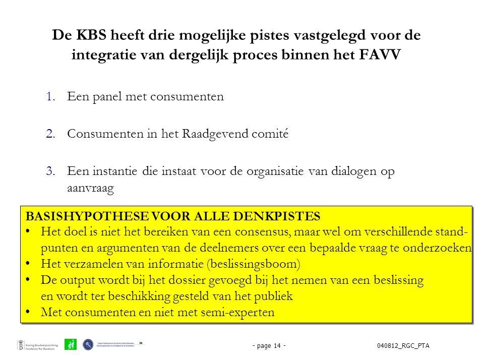040812_RGC_PTA- page 14 - De KBS heeft drie mogelijke pistes vastgelegd voor de integratie van dergelijk proces binnen het FAVV 1.Een panel met consum