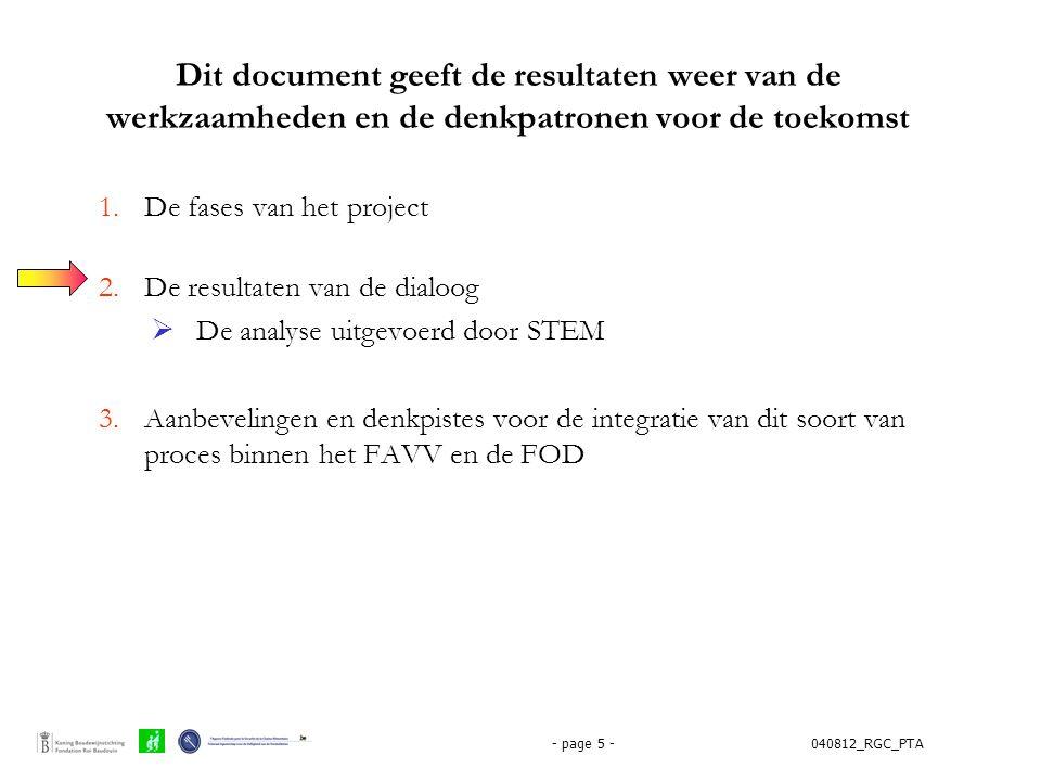 040812_RGC_PTA- page 5 - Dit document geeft de resultaten weer van de werkzaamheden en de denkpatronen voor de toekomst 1.De fases van het project 2.D