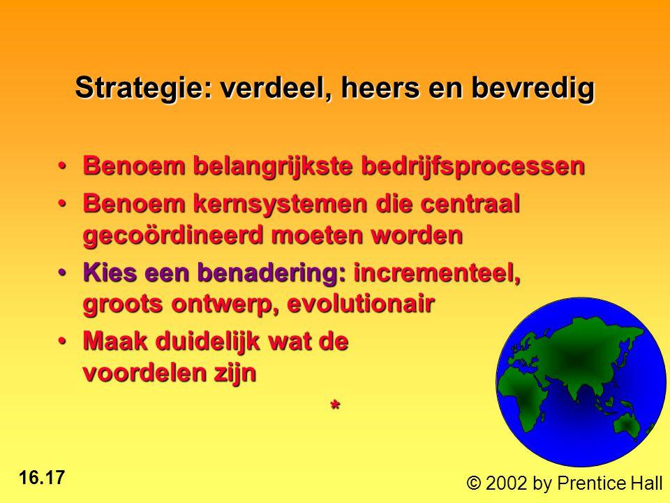 16.17 © 2002 by Prentice Hall Strategie: verdeel, heers en bevredig Benoem belangrijkste bedrijfsprocessenBenoem belangrijkste bedrijfsprocessen Benoem kernsystemen die centraal gecoördineerd moeten wordenBenoem kernsystemen die centraal gecoördineerd moeten worden Kies een benadering: incrementeel, groots ontwerp, evolutionairKies een benadering: incrementeel, groots ontwerp, evolutionair Maak duidelijk wat de voordelen zijnMaak duidelijk wat de voordelen zijn*