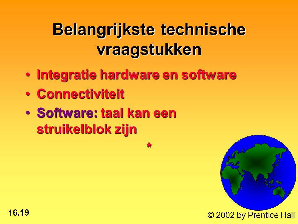 16.19 © 2002 by Prentice Hall Belangrijkste technische vraagstukken Integratie hardware en softwareIntegratie hardware en software ConnectiviteitConnectiviteit Software: taal kan een struikelblok zijnSoftware: taal kan een struikelblok zijn*