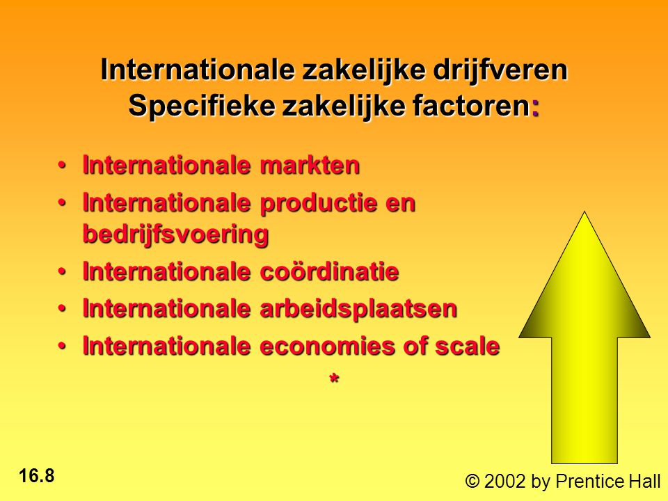 16.8 © 2002 by Prentice Hall Internationale zakelijke drijfveren Specifieke zakelijke factoren: Internationale marktenInternationale markten Internationale productie en bedrijfsvoeringInternationale productie en bedrijfsvoering Internationale coördinatieInternationale coördinatie Internationale arbeidsplaatsenInternationale arbeidsplaatsen Internationale economies of scaleInternationale economies of scale*