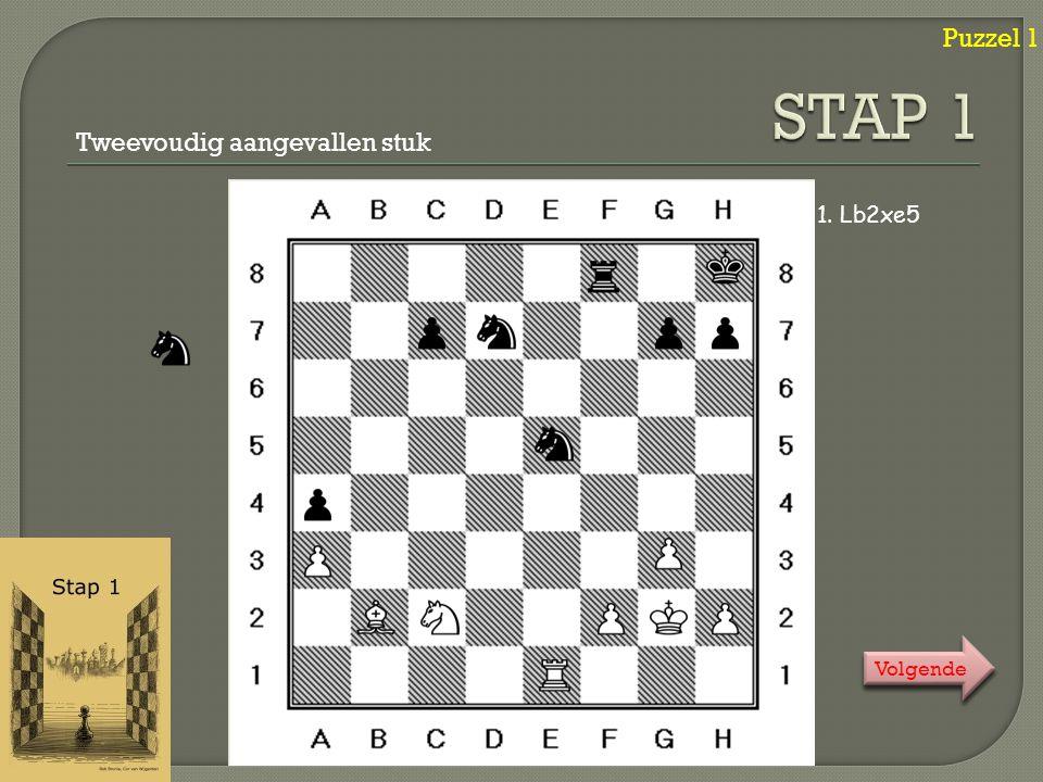 Puzzel 2 1. … b7-b5+ 2. a5xb6ep# Mat in één / En passant slaan Klik ! Klik ! Volgende