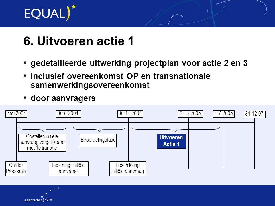 6. Uitvoeren actie 1 gedetailleerde uitwerking projectplan voor actie 2 en 3 inclusief overeenkomst OP en transnationale samenwerkingsovereenkomst doo