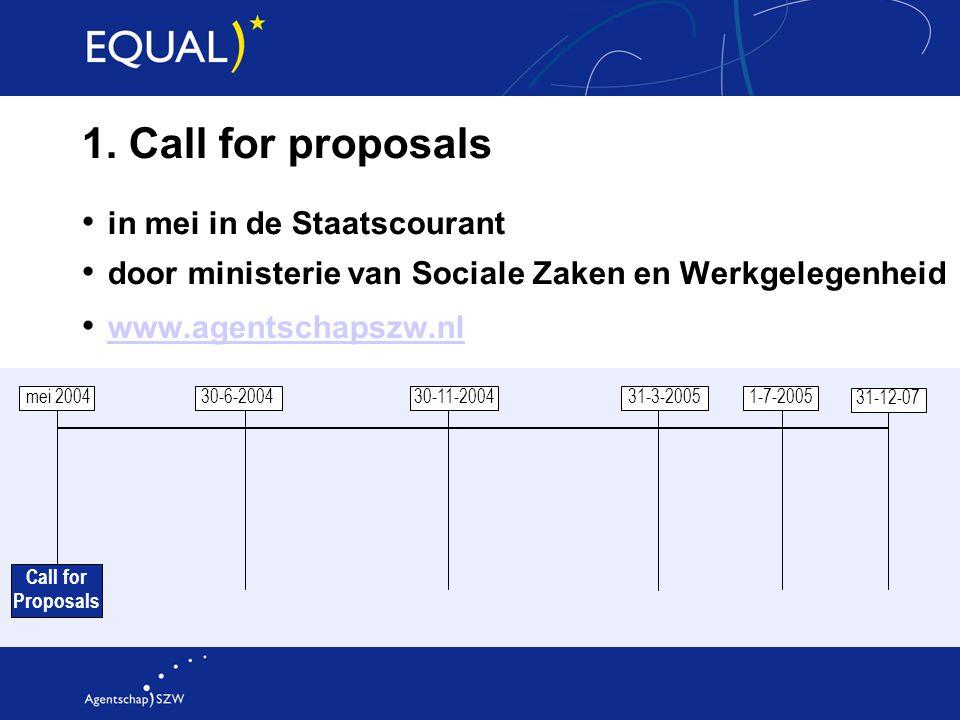 1. Call for proposals in mei in de Staatscourant door ministerie van Sociale Zaken en Werkgelegenheid www.agentschapszw.nl mei 2004 30-6-2004 30-11-20