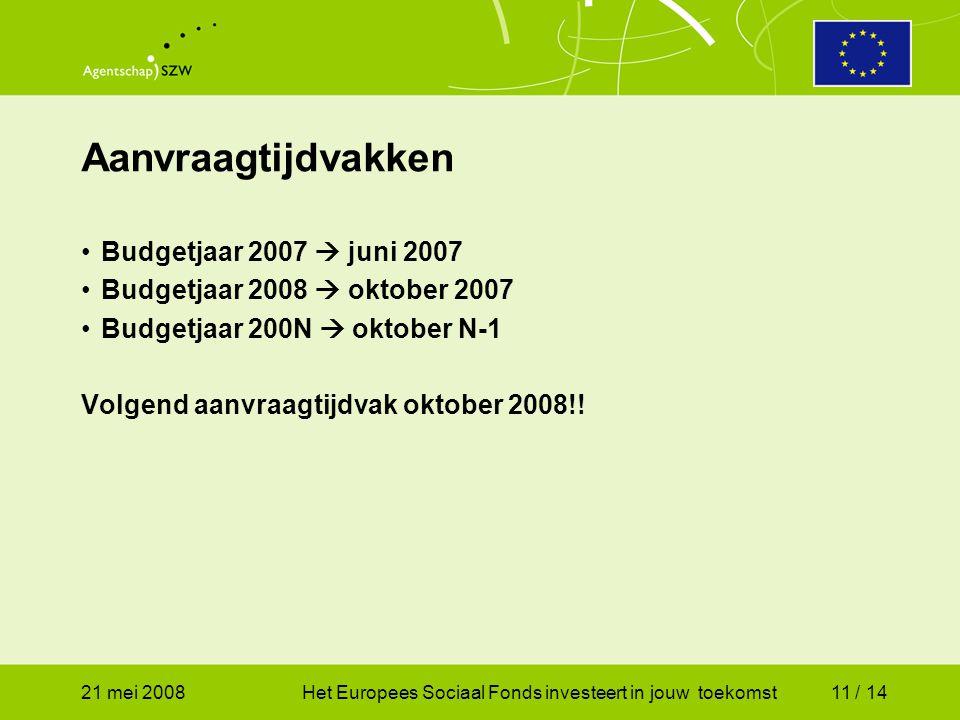 21 mei 2008Het Europees Sociaal Fonds investeert in jouw toekomst11 / 14 Budgetjaar 2007  juni 2007 Budgetjaar 2008  oktober 2007 Budgetjaar 200N  oktober N-1 Volgend aanvraagtijdvak oktober 2008!.