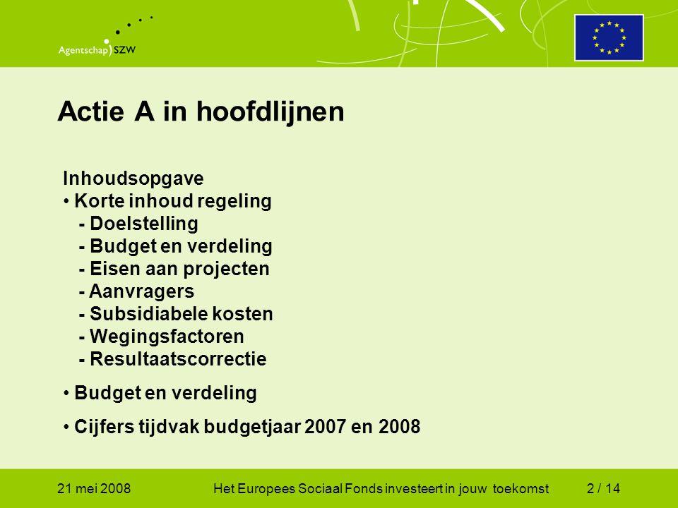 21 mei 2008Het Europees Sociaal Fonds investeert in jouw toekomst2 / 14 Actie A in hoofdlijnen Inhoudsopgave Korte inhoud regeling - Doelstelling - Budget en verdeling - Eisen aan projecten - Aanvragers - Subsidiabele kosten - Wegingsfactoren - Resultaatscorrectie Budget en verdeling Cijfers tijdvak budgetjaar 2007 en 2008