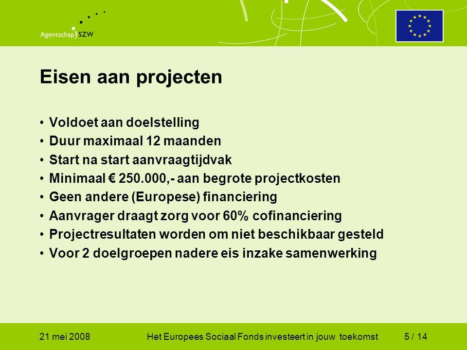 21 mei 2008Het Europees Sociaal Fonds investeert in jouw toekomst6 / 14 Nug-ers  verplichte samenwerking met CWI Deels-arbeidsgeschikten  verplichte samenwerking met UWV (samenloop WWB + WIA uitkering) Samenwerking is niet verplicht voor arbeidsbelemmerden (volledige WWB-uitkering) en 55+-ers in de WWB, mag wel.