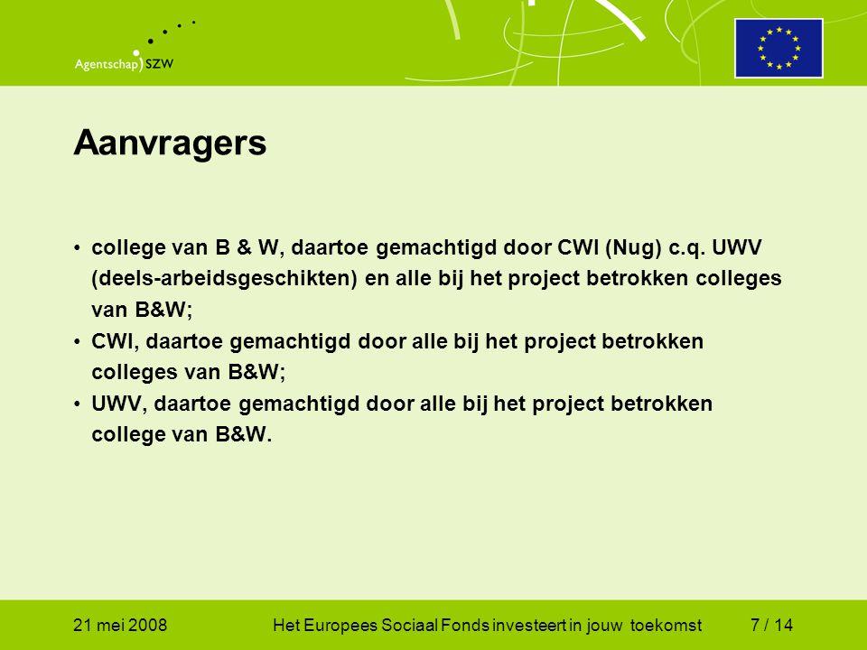 21 mei 2008Het Europees Sociaal Fonds investeert in jouw toekomst7 / 14 Aanvragers college van B & W, daartoe gemachtigd door CWI (Nug) c.q.