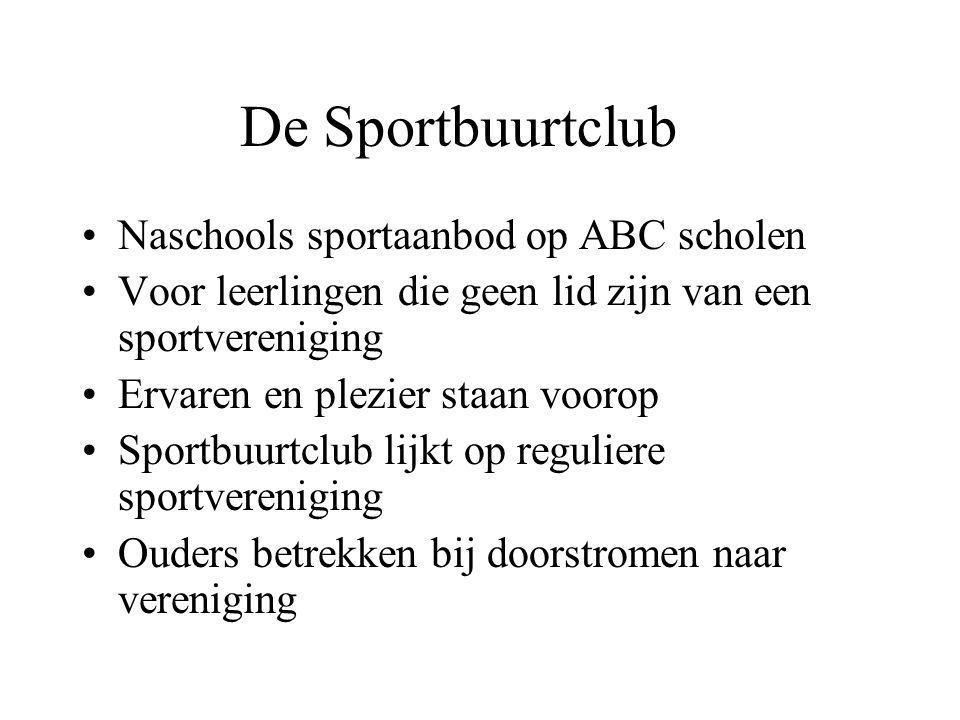 De Sportbuurtclub Naschools sportaanbod op ABC scholen Voor leerlingen die geen lid zijn van een sportvereniging Ervaren en plezier staan voorop Sport