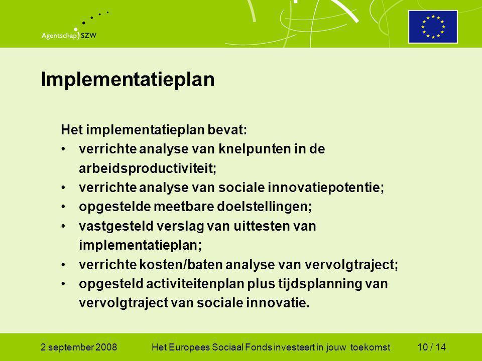 2 september 2008Het Europees Sociaal Fonds investeert in jouw toekomst10 / 14 Implementatieplan Het implementatieplan bevat: verrichte analyse van knelpunten in de arbeidsproductiviteit; verrichte analyse van sociale innovatiepotentie; opgestelde meetbare doelstellingen; vastgesteld verslag van uittesten van implementatieplan; verrichte kosten/baten analyse van vervolgtraject; opgesteld activiteitenplan plus tijdsplanning van vervolgtraject van sociale innovatie.
