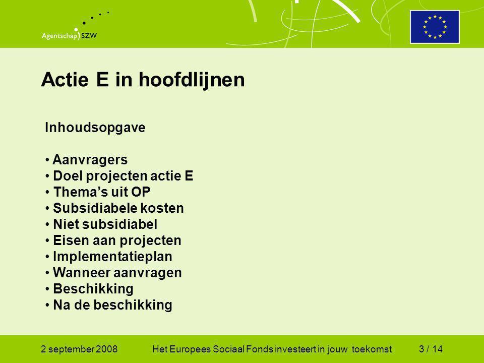 2 september 2008Het Europees Sociaal Fonds investeert in jouw toekomst14 / 14 Tot slot Het AGSZW ziet graag in oktober 2008 een aanvraag van u tegemoet.