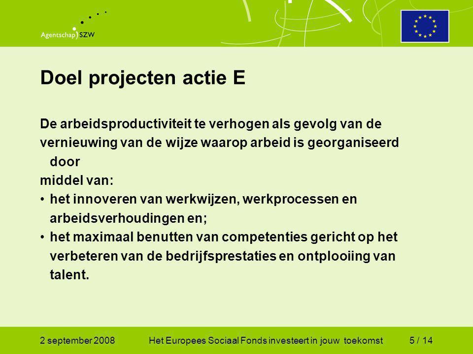 2 september 2008Het Europees Sociaal Fonds investeert in jouw toekomst5 / 14 De arbeidsproductiviteit te verhogen als gevolg van de vernieuwing van de wijze waarop arbeid is georganiseerd door middel van: het innoveren van werkwijzen, werkprocessen en arbeidsverhoudingen en; het maximaal benutten van competenties gericht op het verbeteren van de bedrijfsprestaties en ontplooiing van talent.