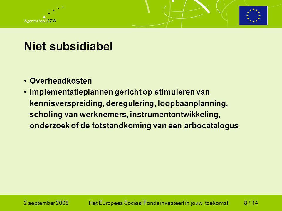 2 september 2008Het Europees Sociaal Fonds investeert in jouw toekomst9 / 14 Eisen aan projecten duur ten hoogste 12 maanden; gericht op een van de thema's uit OP; deelname staat slechts open voor werkgevers; steun door zowel de deelnemende werkgever(s) als de werknemers; begrote subsidiabele kosten bedragen ten minste € 67.000 en ten hoogste € 160.000; aanvrager draagt zorg voor 25% cofinanciering; beoogde resultaten moeten algemeen overdraagbaar zijn; project moet bijdragen aan de implementatie van sociale innovatie