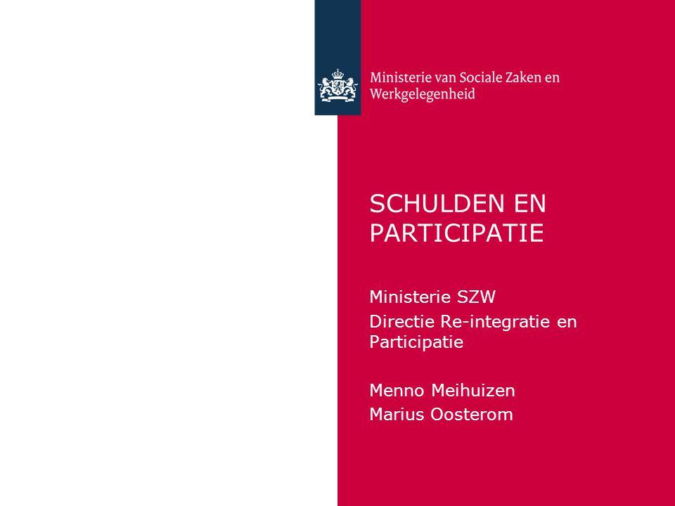 SCHULDEN EN PARTICIPATIE Ministerie SZW Directie Re-integratie en Participatie Menno Meihuizen Marius Oosterom