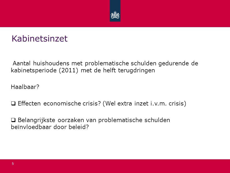 5 Kabinetsinzet Aantal huishoudens met problematische schulden gedurende de kabinetsperiode (2011) met de helft terugdringen Haalbaar?  Effecten econ