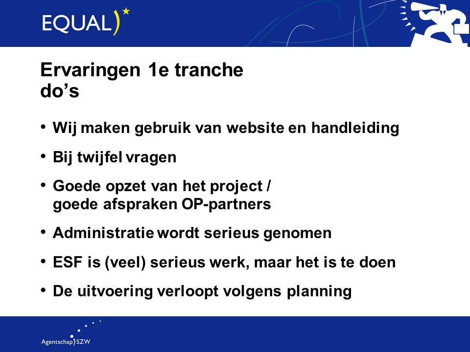 Ervaringen 1e tranche do's Wij maken gebruik van website en handleiding Bij twijfel vragen Goede opzet van het project / goede afspraken OP-partners A