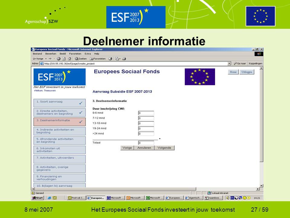 8 mei 2007Het Europees Sociaal Fonds investeert in jouw toekomst27 / 59 Deelnemer informatie