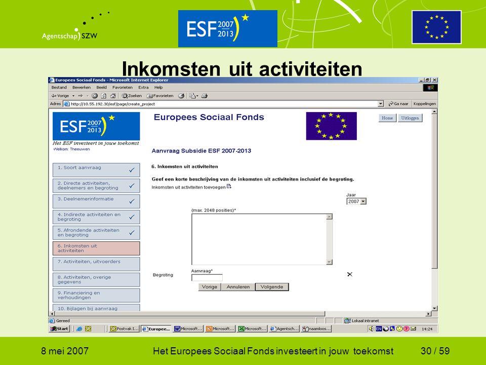 8 mei 2007Het Europees Sociaal Fonds investeert in jouw toekomst30 / 59 Inkomsten uit activiteiten