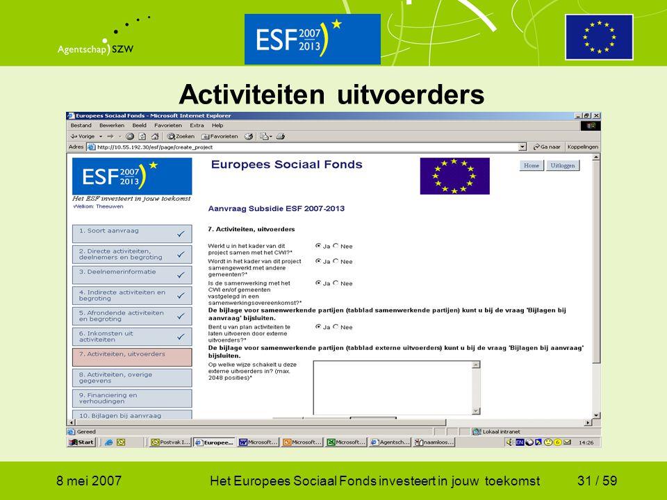 8 mei 2007Het Europees Sociaal Fonds investeert in jouw toekomst31 / 59 Activiteiten uitvoerders