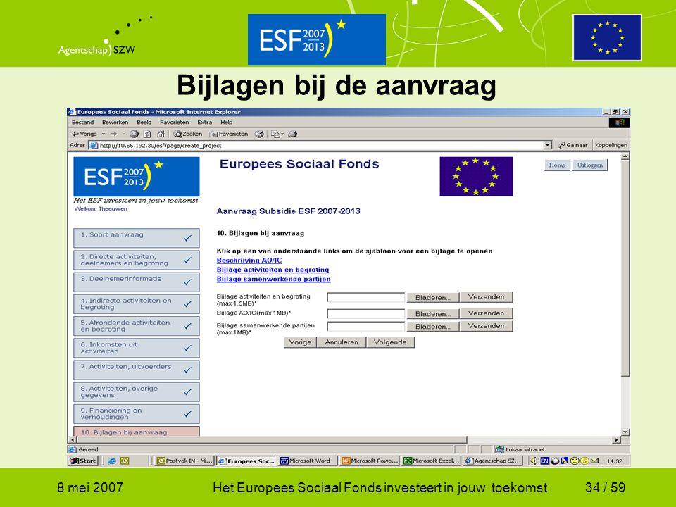 8 mei 2007Het Europees Sociaal Fonds investeert in jouw toekomst34 / 59 Bijlagen bij de aanvraag