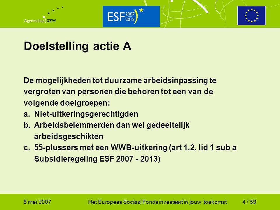 8 mei 2007Het Europees Sociaal Fonds investeert in jouw toekomst5 / 59 Budget en verdeling Actie A2007-20132007 Nug€ 66.400.219€ 12.331.469 Arb.belemmerden€ 66.400.219€ 12.331.469 55+-ers€ 66.400.219€ 12.331.469 Totaal€ 199.200.657€ 36.994.408